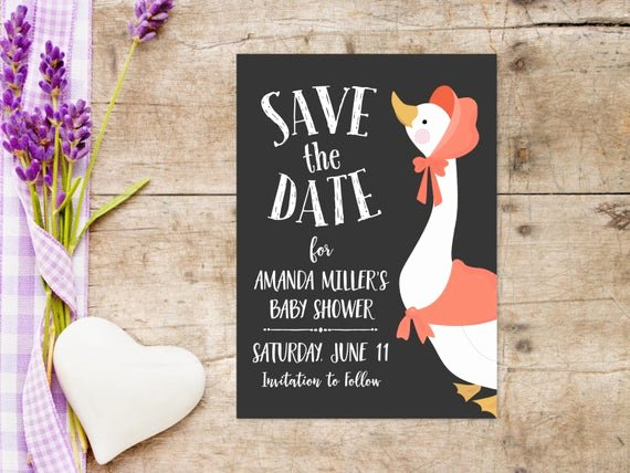 Baby Shower Save the Dates Elegant Printable Baby Shower Save the Date Invitation 5x7 Inches
