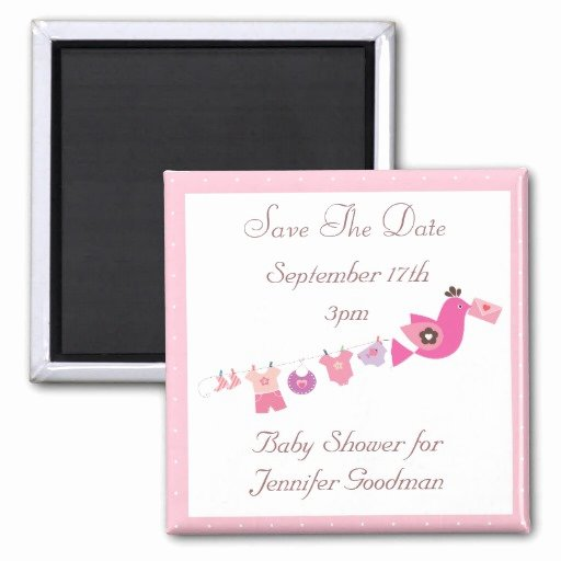 Baby Shower Save the Dates Fresh Bird & Clothesline Pink Save the Date Baby Shower Square