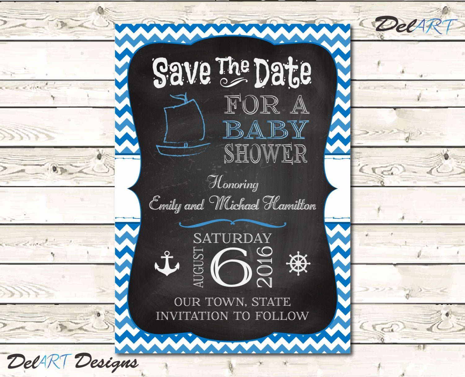 Baby Shower Save the Dates Lovely Baby Shower Save the Date Chalkboard Art Nautical by
