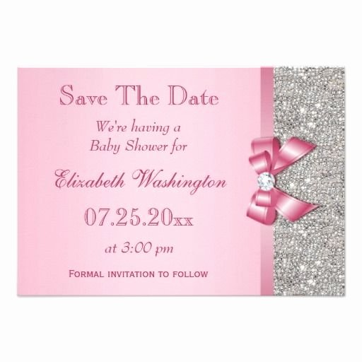 Baby Shower Save the Dates Lovely Fake Pink Bow Diamonds Save the Date Baby Shower Card