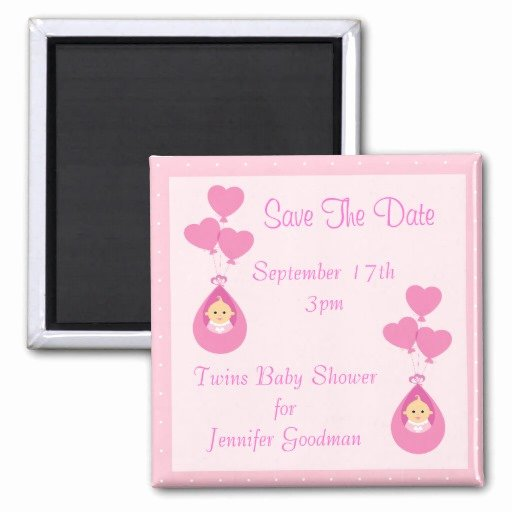 Baby Shower Save the Dates Luxury Twin Girls & Balloons Save the Date Baby Shower Fridge