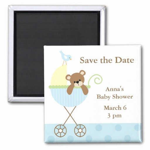 Baby Shower Save the Dates New Blue Bear Baby Shower Save the Date 2 Inch Square Magnet