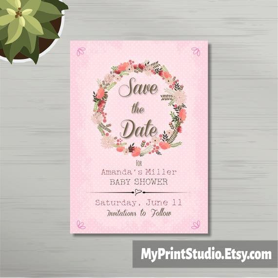 Baby Shower Save the Dates New Save the Date Baby Girl Shower Card Template Save the Date