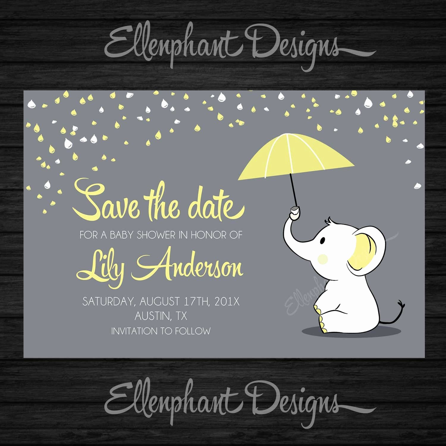 Baby Shower Save the Dates New Save the Date Yellow Elephant Baby Shower Umbrella Rain