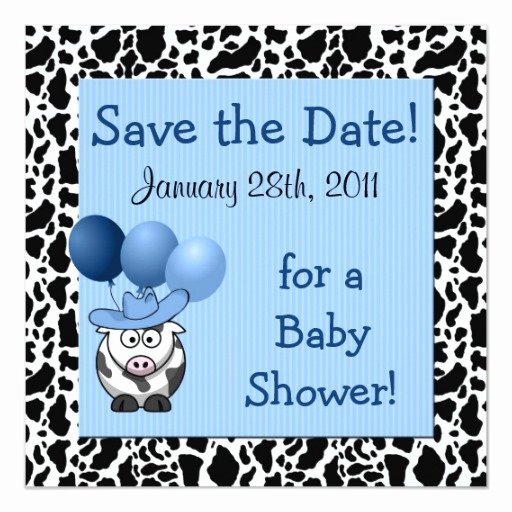 Baby Shower Save the Dates New Western Baby Shower Save the Date Blue Card