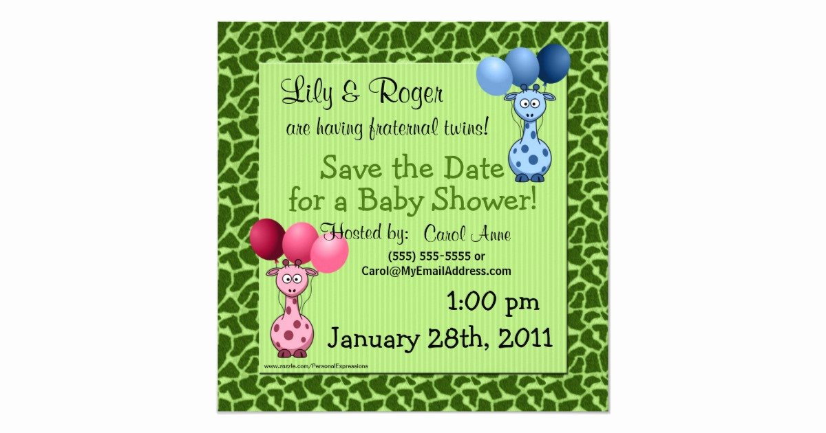 Baby Shower Save the Dates Unique Giraffe Fraternal Twins Baby Shower Save the Date Card