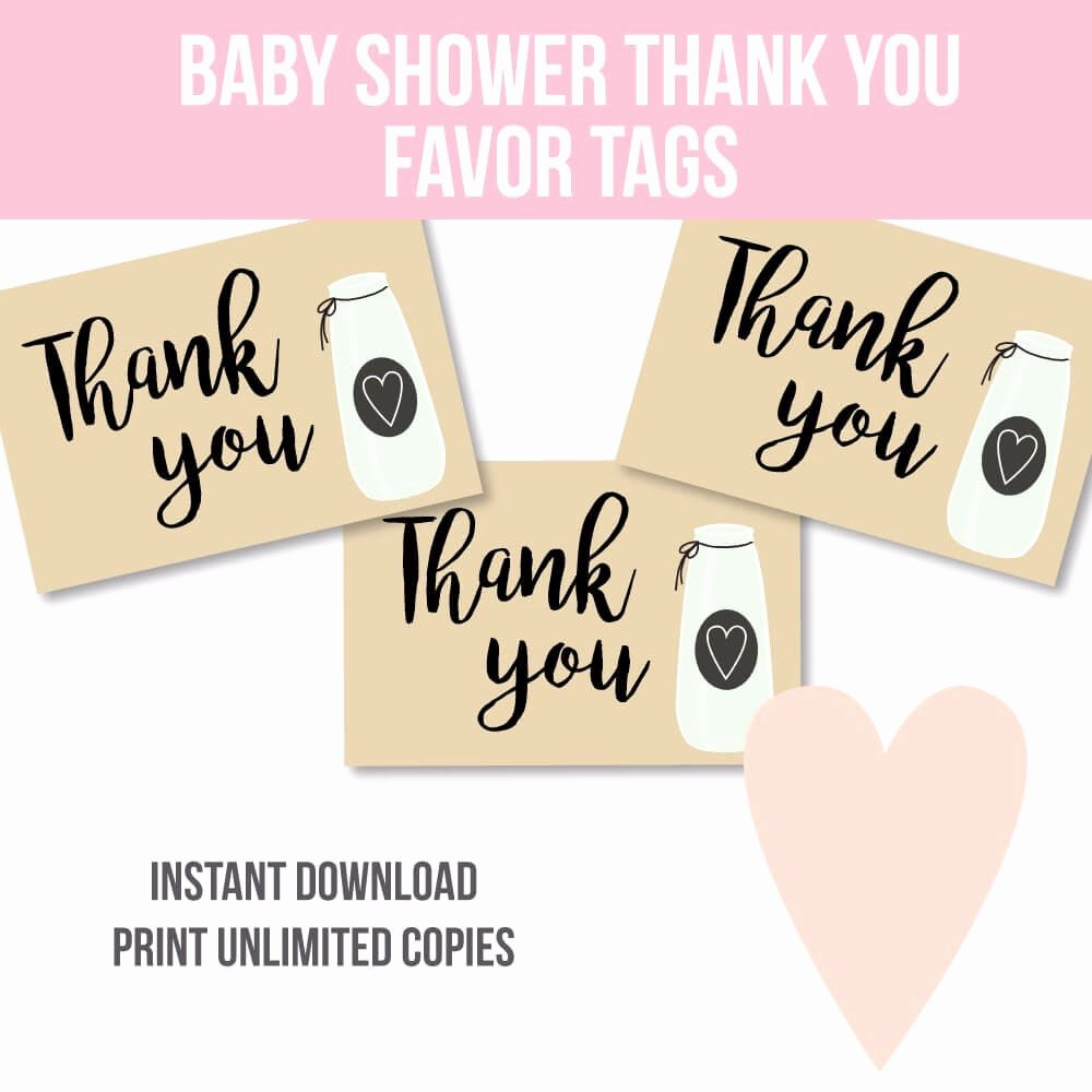 Baby Shower Thank You Tags Beautiful Free Printable Milk Jar Baby Shower Thank You Favor Tags