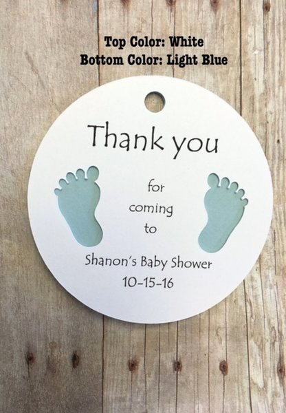 Baby Shower Thank You Tags Beautiful Round Gift Tags with Baby Feet Thank You for Ing