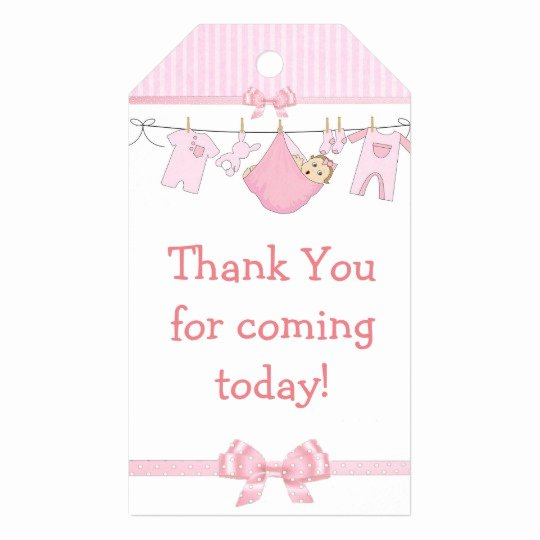 Baby Shower Thank You Tags Beautiful Thank You for Ing Pink Baby Shower Gift Tag