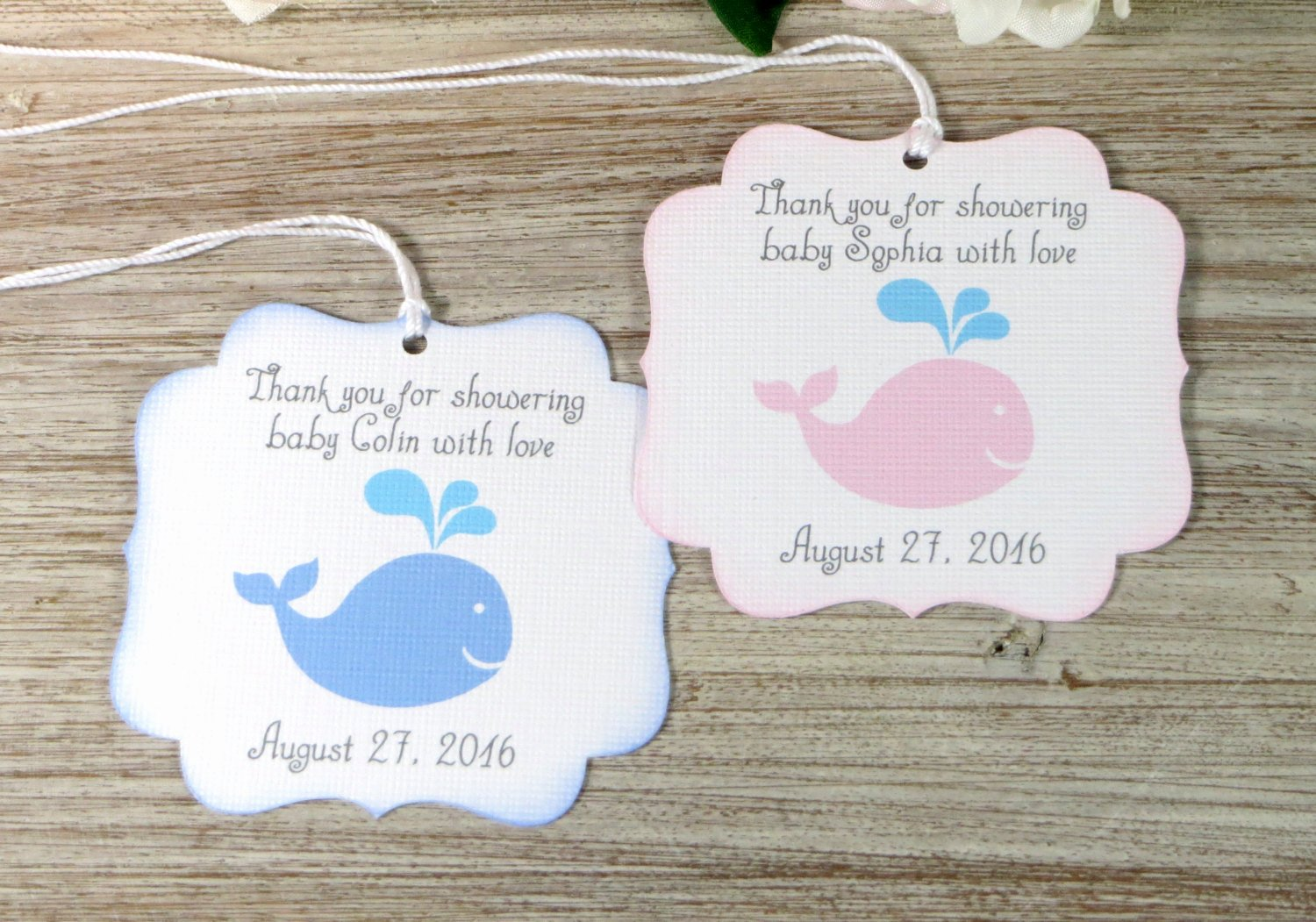 Baby Shower Thank You Tags Beautiful Whale Baby Shower Favor Tags Nautical Baby Shower Thank