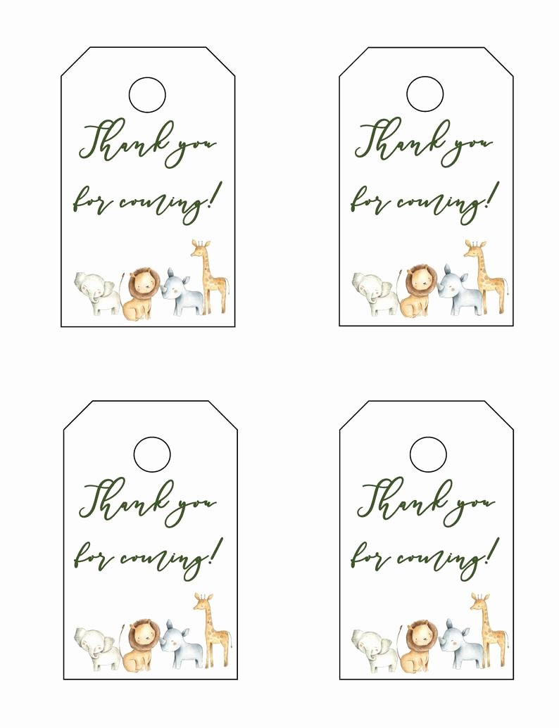 Baby Shower Thank You Tags Best Of Safari Baby Shower Thank You for Ing Tags Baby Shower