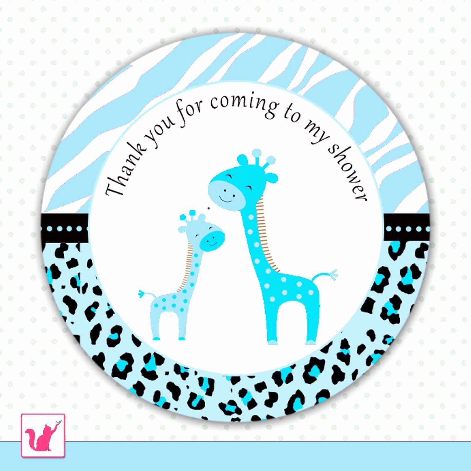 Baby Shower Thank You Tags Elegant Printable Cute Blue Giraffe Thank You Tags Baby Shower