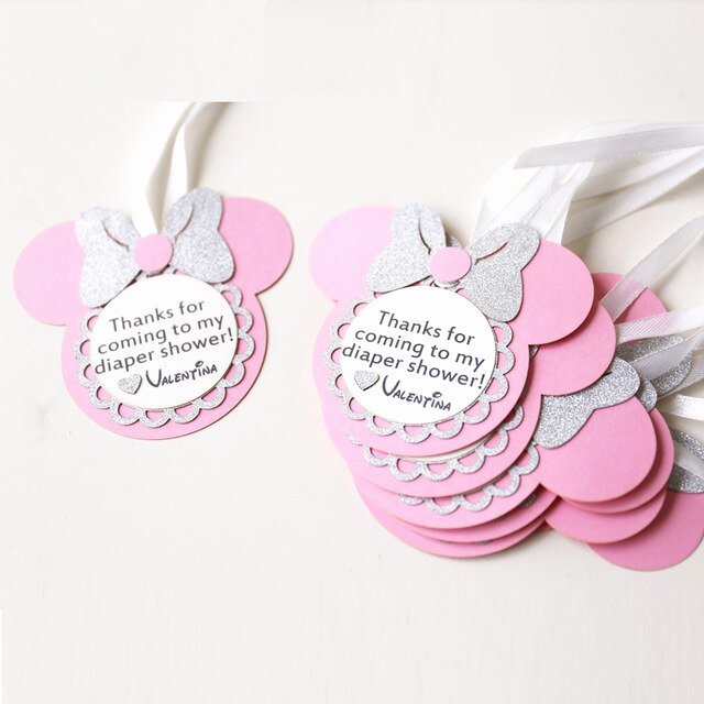 Baby Shower Thank You Tags Lovely Personalized Birthday Favour Tags Custom Minnie Party