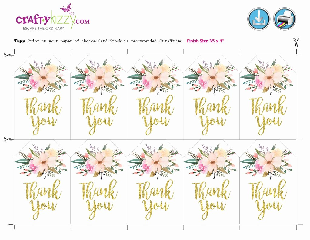 Baby Shower Thank You Tags Luxury Watercolor Floral Thank You Tags Baby Shower Bridal