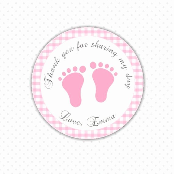 Baby Shower Thank You Tags New Pink Gingham Thank You Tags Baby Feet Custom Baby Shower