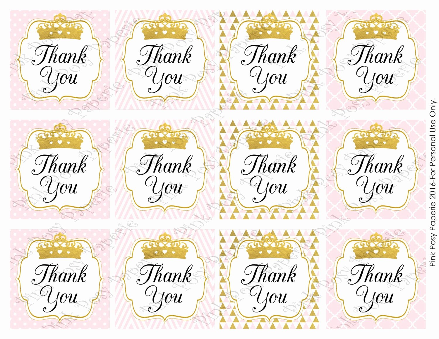 Baby Shower Thank You Tags New Printable Pink Princess Girl Baby Shower Thank You Tags