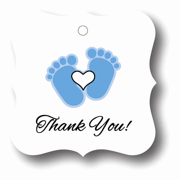 Baby Shower Thank You Tags Unique 24 Blue Baby Boy Feet with Heart Thank You Baby Shower