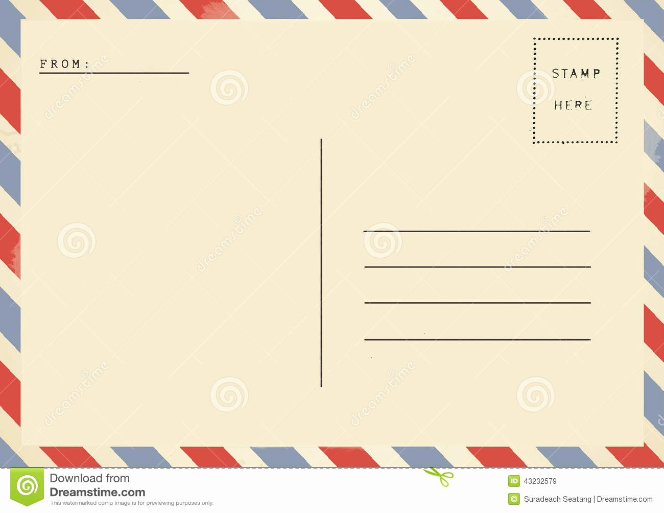 Back Of Postcard Template Beautiful Back Airmail Blank Postcard Stock Image