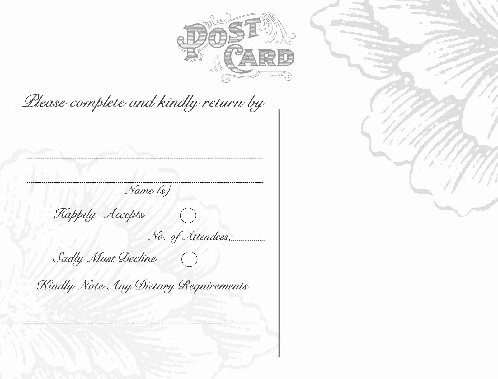 Back Of Postcard Template Best Of Omg My Diy Wedding Free Vintage Postcard Back & Peony