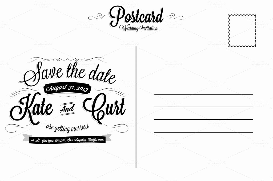 Back Of Postcard Template Unique Vintage Wedding Invitation Postcard Card Templates On
