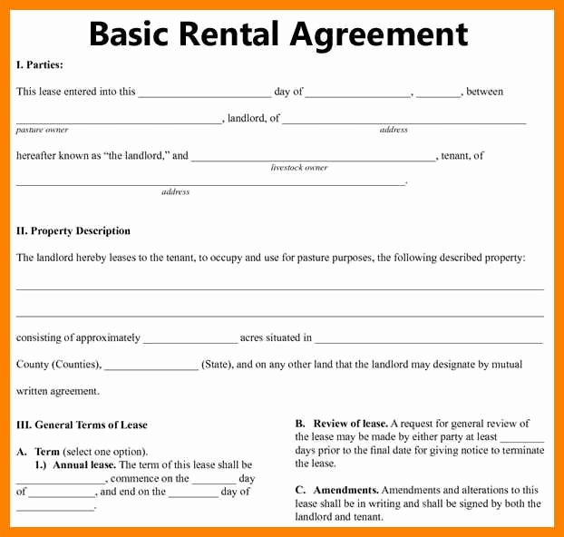 Basic Lease Agreement Template Awesome Basic Rental Agreement Fillable