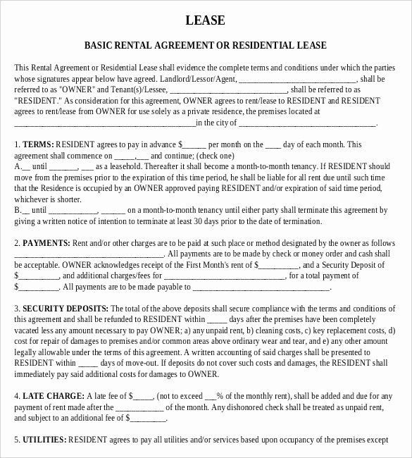 Basic Lease Agreement Template Beautiful Rental Agreement Templates – 15 Free Word Pdf Documents