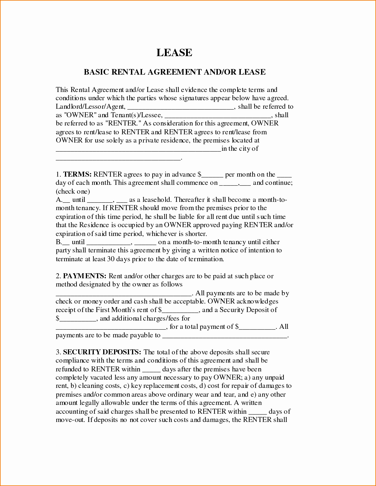 Basic Lease Agreement Template Elegant 6 Basic Lease Agreement