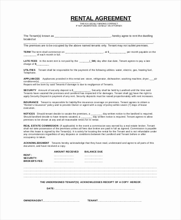 Basic Lease Agreement Template Fresh Basic Lease Agreement