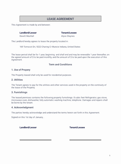 Basic Lease Agreement Template Inspirational Simple E Page Lease Agreement Template Pdf Templates