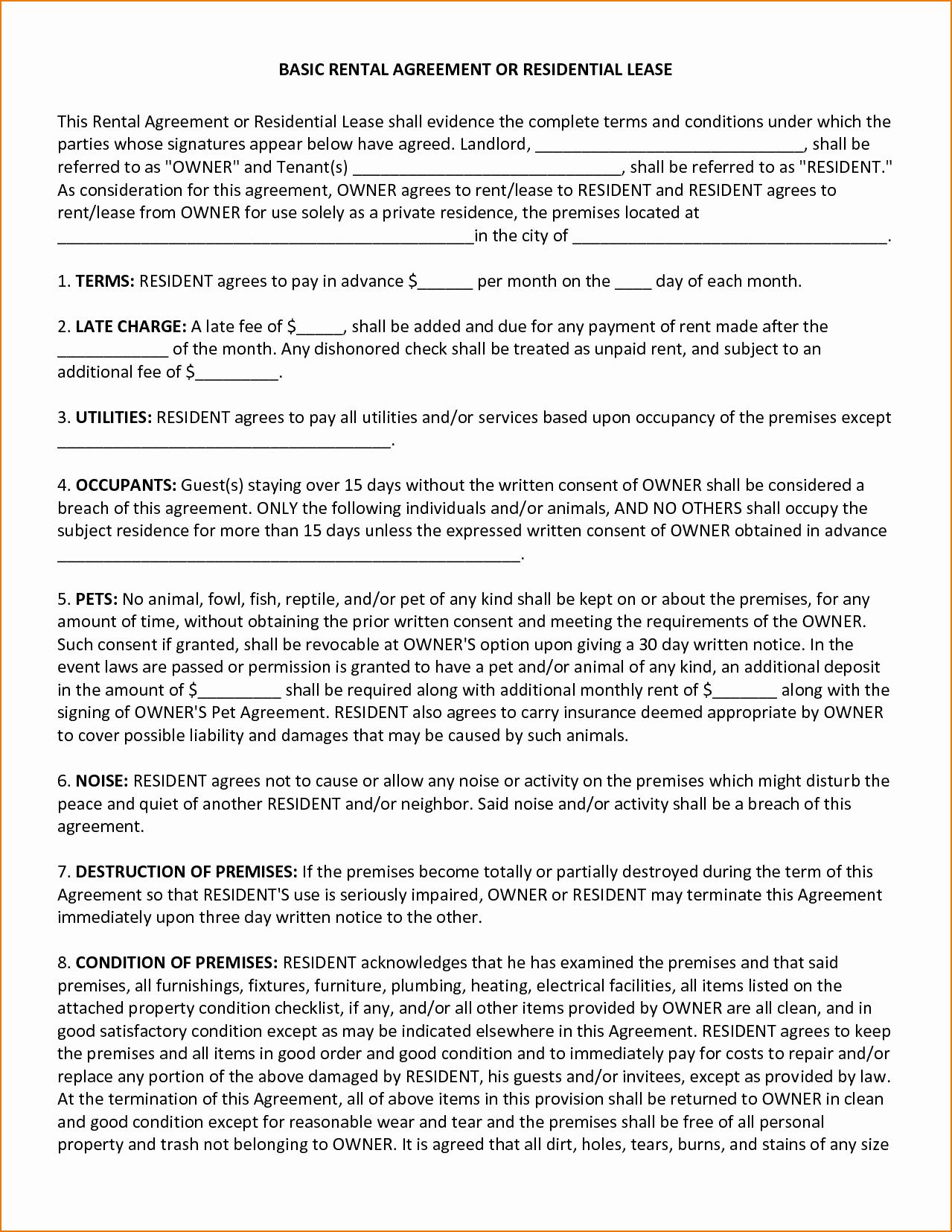 Basic Lease Agreement Template Luxury 4 Basic Lease Agreement Template