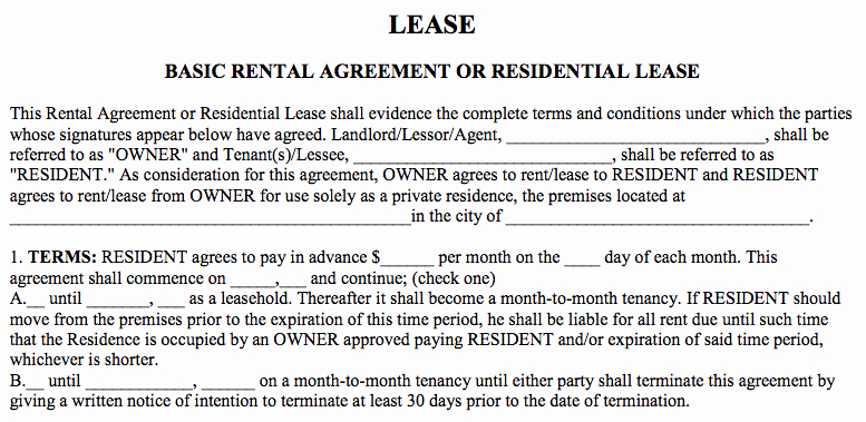 Basic Lease Agreement Template Unique Basic Rental Agreement In A Word Document for Free
