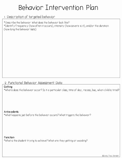 Behavior Intervention Plan Template Awesome the Bender Bunch Creating A Behavior Intervention Plan Bip