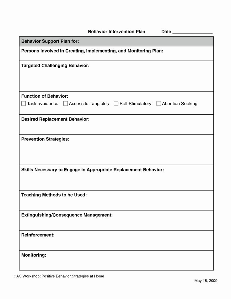 Behavior Intervention Plan Template Fresh 11 Best Images About Fba Documents On Pinterest