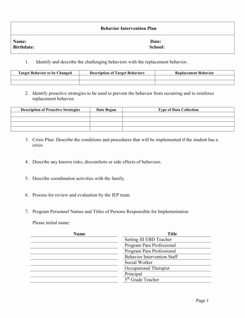 Behavior Intervention Plan Template Unique Behavior Intervention Plan Template