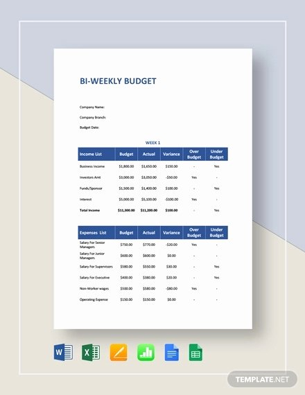 Bi Weekly Budget Template Awesome Free 9 Bi Weekly Bud Examples & Samples In Google Docs