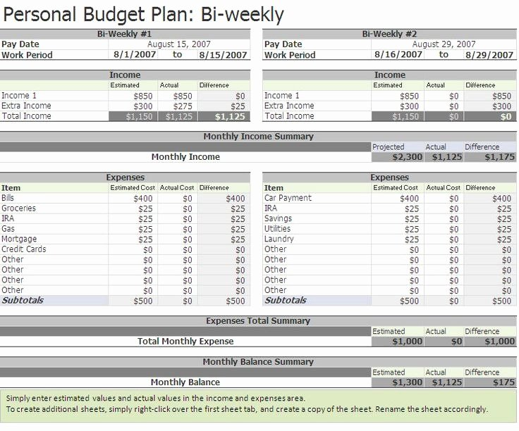 Bi Weekly Budget Template Beautiful Bi Weekly Bud Template