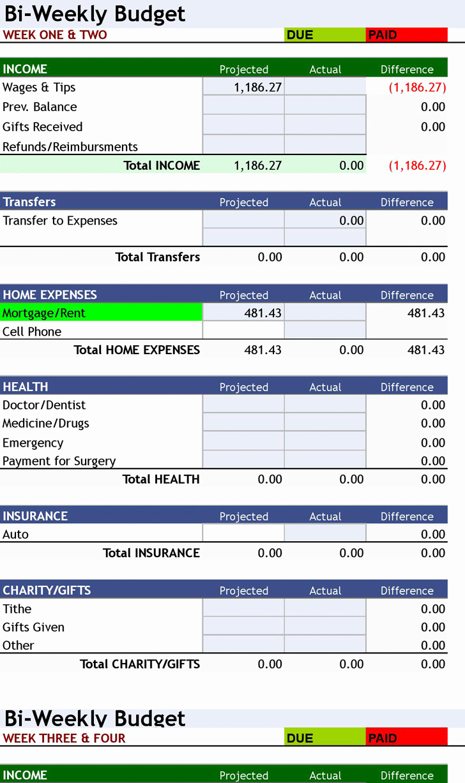 Bi Weekly Budget Template Inspirational Free Download ° Bi Weekly Personal Bud ° Excel