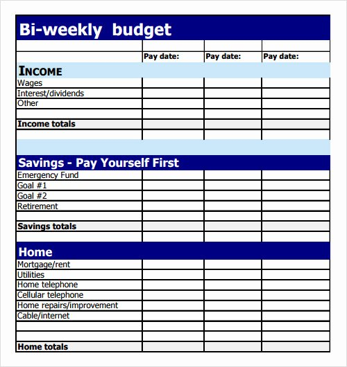 Bi Weekly Budget Template Unique Sample Bud 8 Documents In Pdf Excel