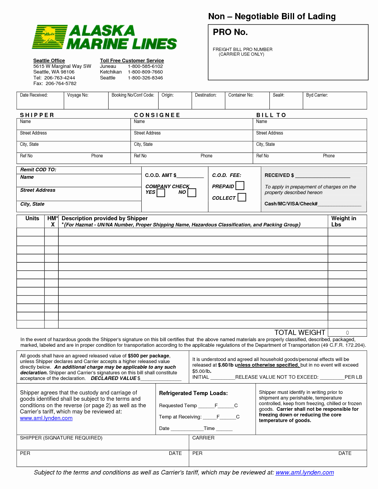 Bill Of Lading Sample Awesome 13 Bill Of Lading Templates Excel Pdf formats