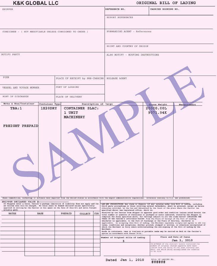 Bill Of Lading Sample Best Of Bill Of Lading