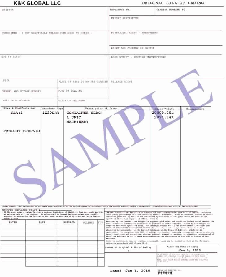 Bill Of Lading Sample Best Of How Many Types Of Bill Of Lading Do You Know Nautical Class