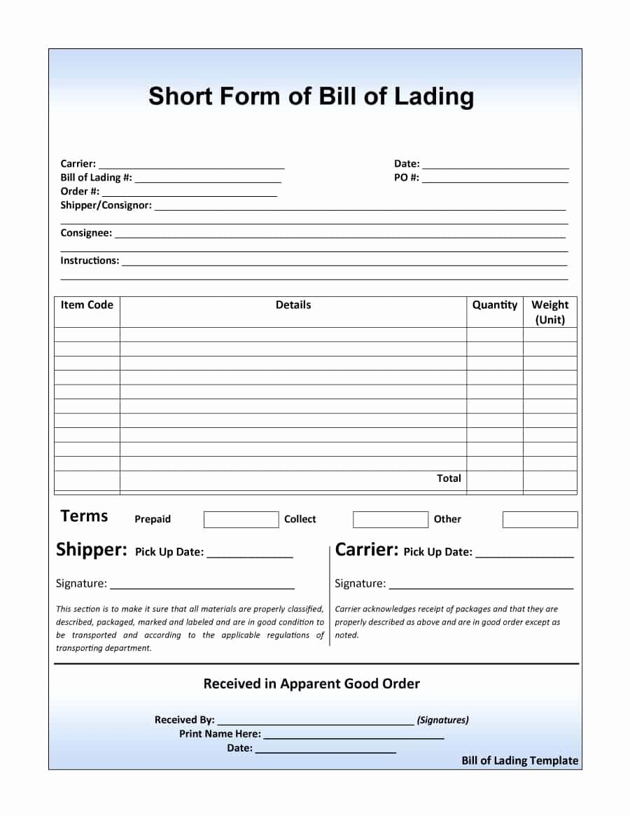 Bill Of Lading Sample Elegant 40 Free Bill Of Lading forms & Templates Template Lab