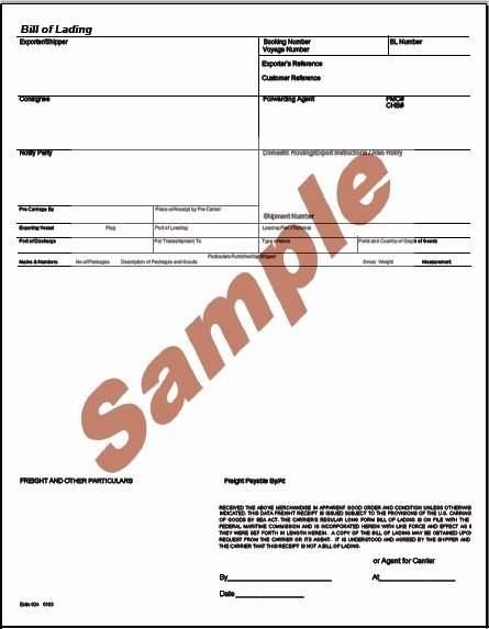 Bill Of Lading Sample Fresh Printable Sample Bill Lading Pdf form