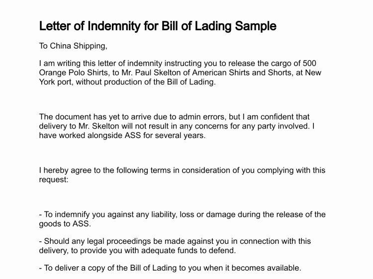 Bill Of Lading Sample Lovely Letter Of Indemnity