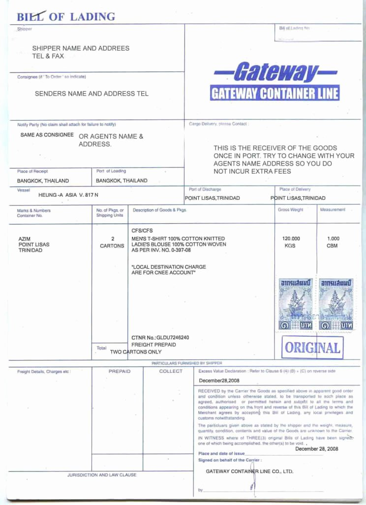 Bill Of Lading Sample Unique Bill Of Lading B L What is It Its Different Types