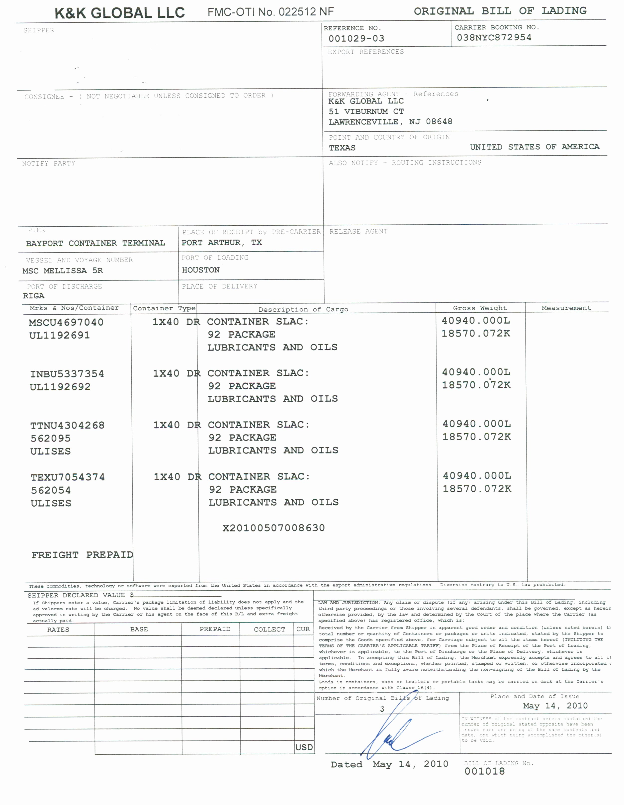 Bill Of Lading Sample Unique Bill Of Lading