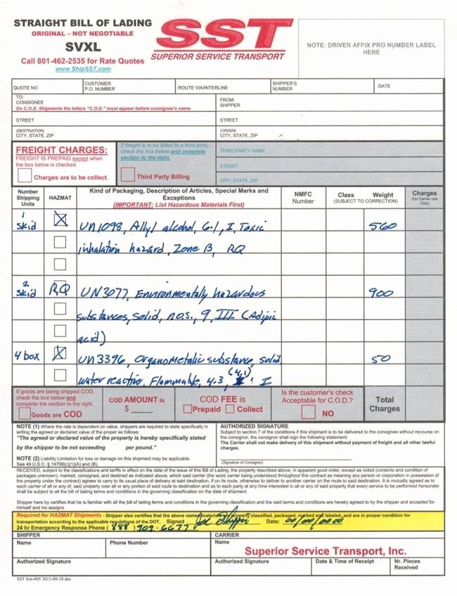 Bill Of Lading Sample Unique Schedule A Sst Pickup