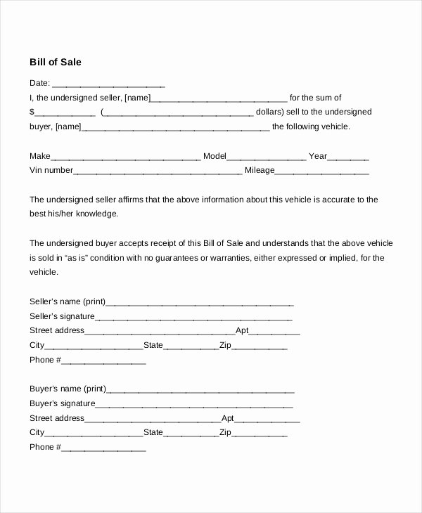 Bill Of Sale Car Template Best Of Free Bill Of Sale form Template Vehicle Car Auto Dmv
