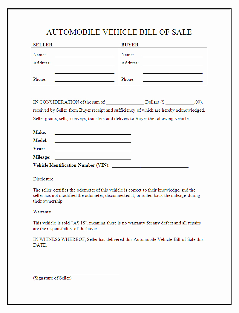 Bill Of Sale Car Template Fresh Free Printable Auto Bill Of Sale form Generic