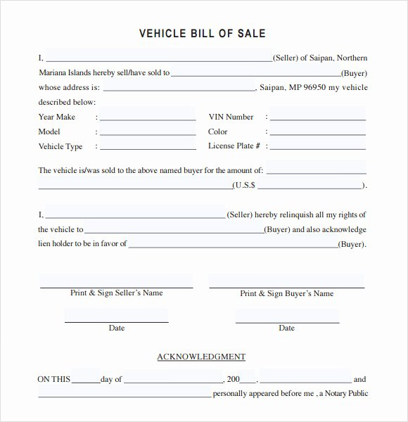 Bill Of Sale Car Template Inspirational Vehicle Bill Of Sale Template 14 Download Free
